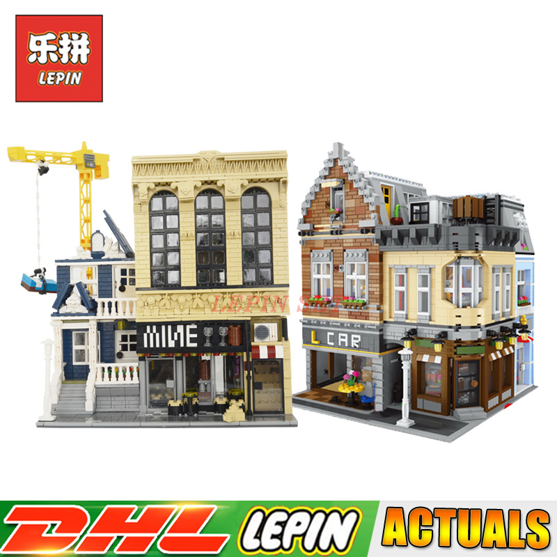 LEPIN 15034 The Building City+ 15035 MOC The Bars and Financial Set Model Block Bricks Toys for Children Compatible LegoINGlys