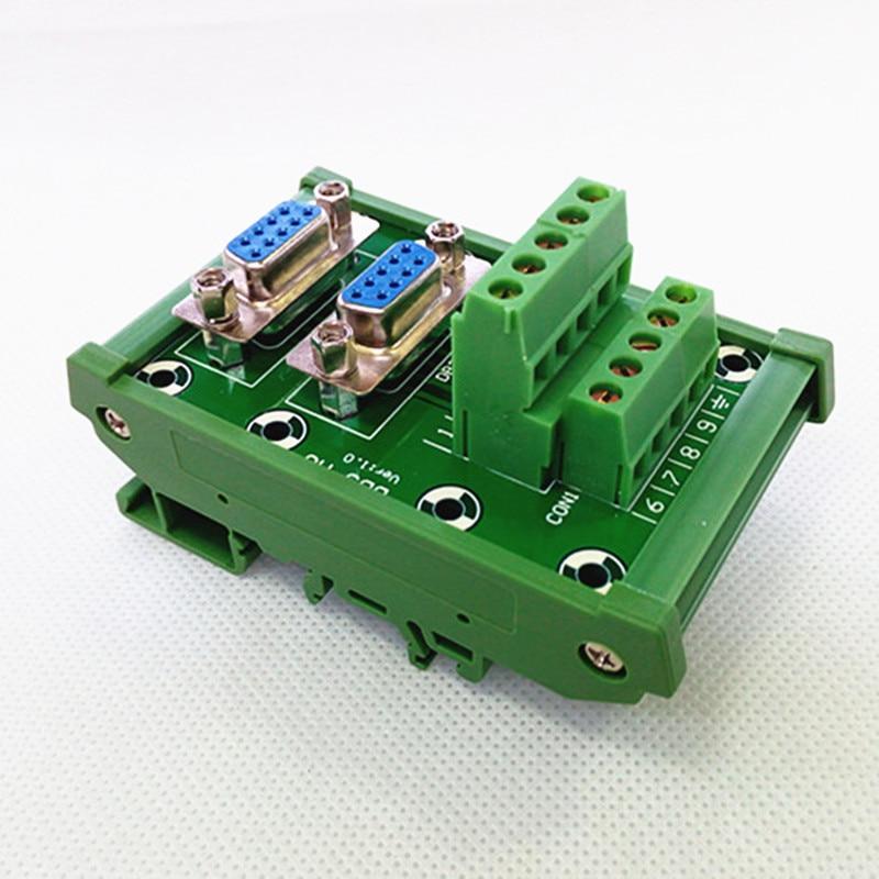 DIN Rail Mount D-SUB Male-Female Interface Module Terminal Block Breakout Board DB9