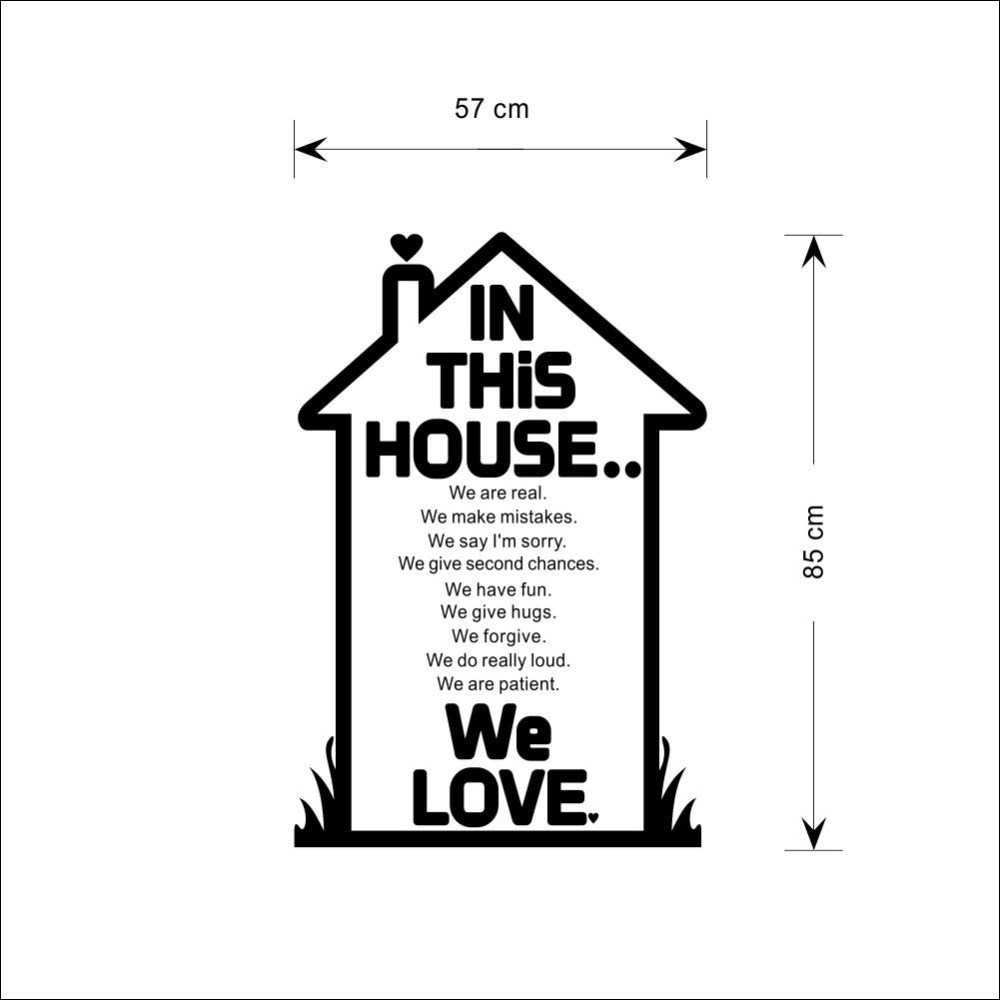 We Love In This House Family House Rules Quotes Wall Sticker Art