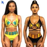 Ethnic High Waist Swimsuit Sexy Halter String Strappy Bikini Set 2018 New Swimwear Women Bandage Bathing