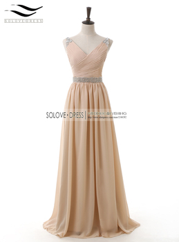 New Elegant A Line V-neck Pleat  Sleeveless Chiffon Beads Crystals Long Evening Dress Forma Woman Dresses Vestidos Longo (E100)