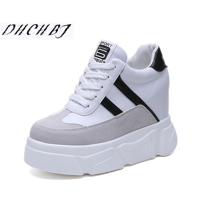 Tacones Cada Altura Plataforma 10 Zapatos Cuñas Primavera Deporte De Malla Zapatillas blanco Mujeres Blancos Negro Vez Las Casual 2019 Mayor Cm Mujer YvHa7