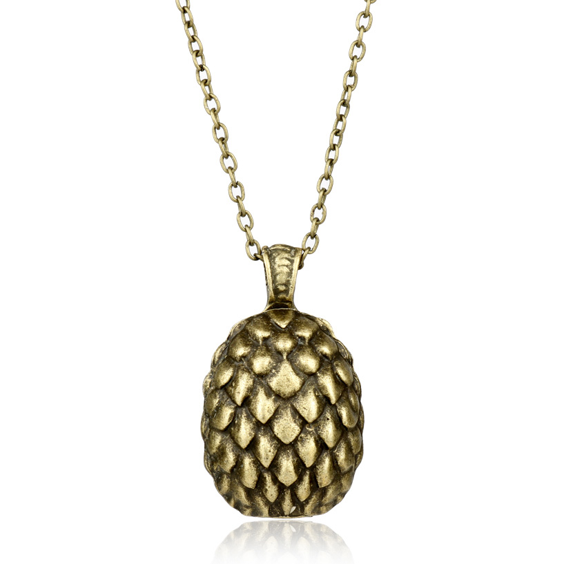 dongsheng Movies Ice and Fire Song Game Of Thrones Dragon Egg Pendant Necklace Daenerys Targaryen Bronze Egg Necklaces Gift -30