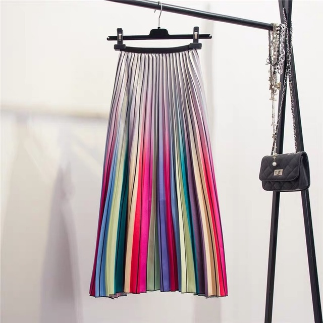 Women's High Waisted Pleated Skirt A-line Mid-Calf Rainbow Striped European Style