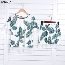 DANALA Casual Women Pajamas Sets Summer Floral Print Short Sleeve Sleepwear Nightwear Home Suits