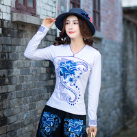 2018 New Autumn Full Sleevep National Wind Cotton Embroidered Blouse Shirt White Black 3101