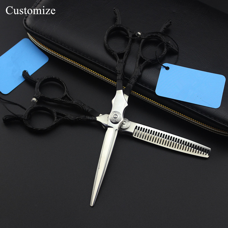 Customize professional japan 440c 6 inch upscale hair salon scissors cutting barber makas Thinning shears hairdressing