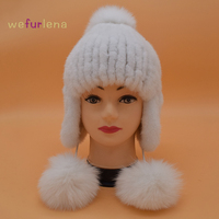 Rusland Nertsen Bont Hoeden Voor Vrouwen Meisje Winter Warm Beanie Cap Pompom Wit Lederen Hoofddeksels Real Gebreide Dame Nertsen Bontmuts