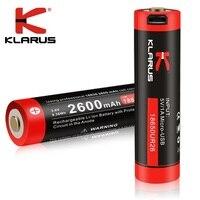 Comprar Nuevo Klarus protección múltiple 18650 de 2600 mah 3.6vLi-batería de iones con Micro-USB de carga para Led linterna