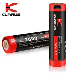 New Klarus Multiple Protection 18650 2600mah 3.6vLi-ion Battery with Micro-USB Charging Charging for Led Flashlight