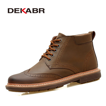 DEKABR Bullock Style Men Snow Boots Handmade Sewing High Quality Slipt Leather Ankle Boots Men Winter Warm Casual Shoes