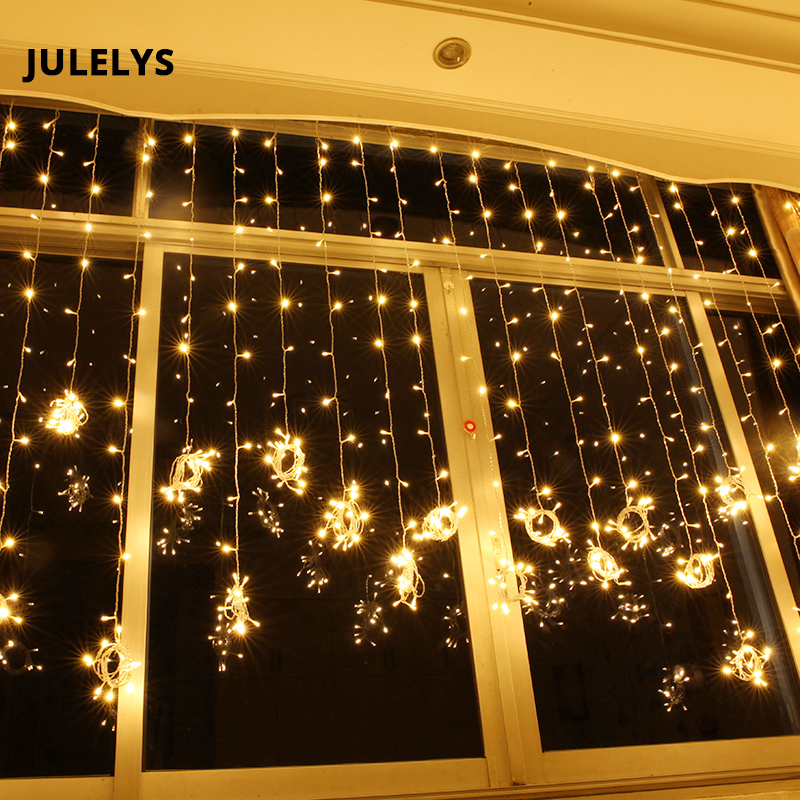 JULELYS 6M x 2M 384 Bulbs Fairy Lights LED Curtain For Wedding Outdoor Christmas Garland String Lights Decoration For Holiday 30 m led string lights christmas tree lights garland curtain chandelier for holiday fairy home garden outdoor wedding decoration