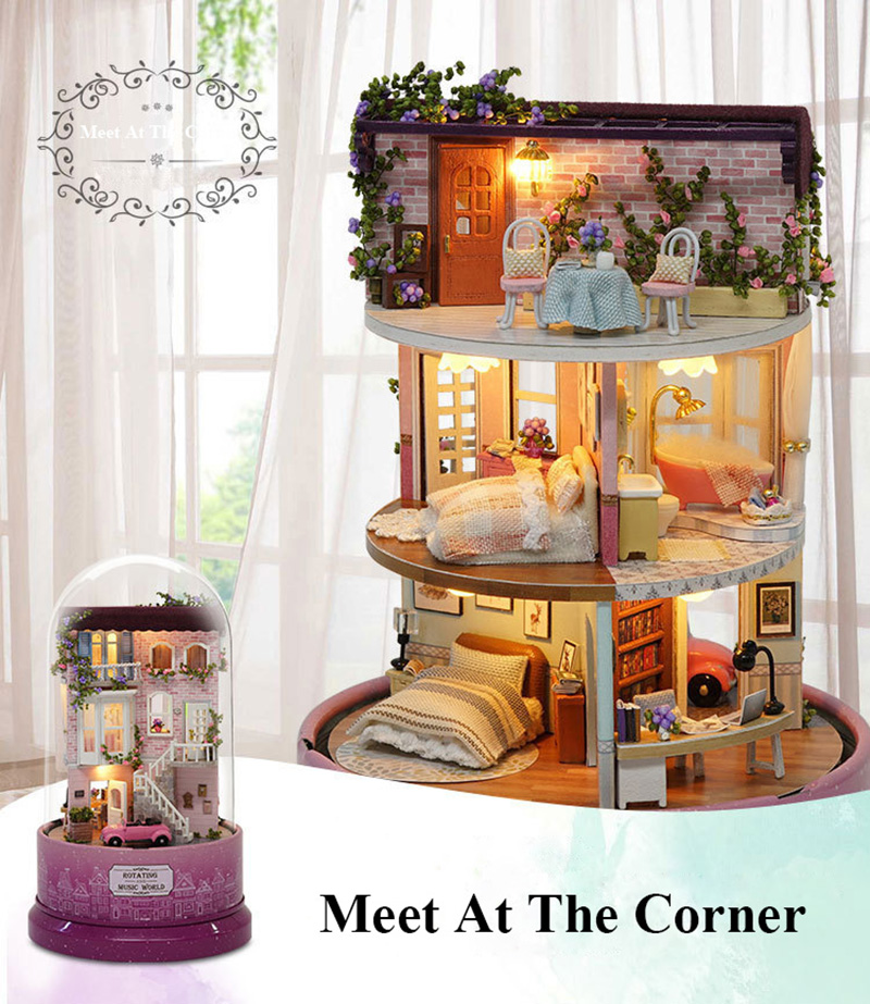 DIY Dollhouse Rotate Music Box Miniature Assemble Kits Doll House With Furnitures Wooden House Toys for Children Birthday Gift (16)