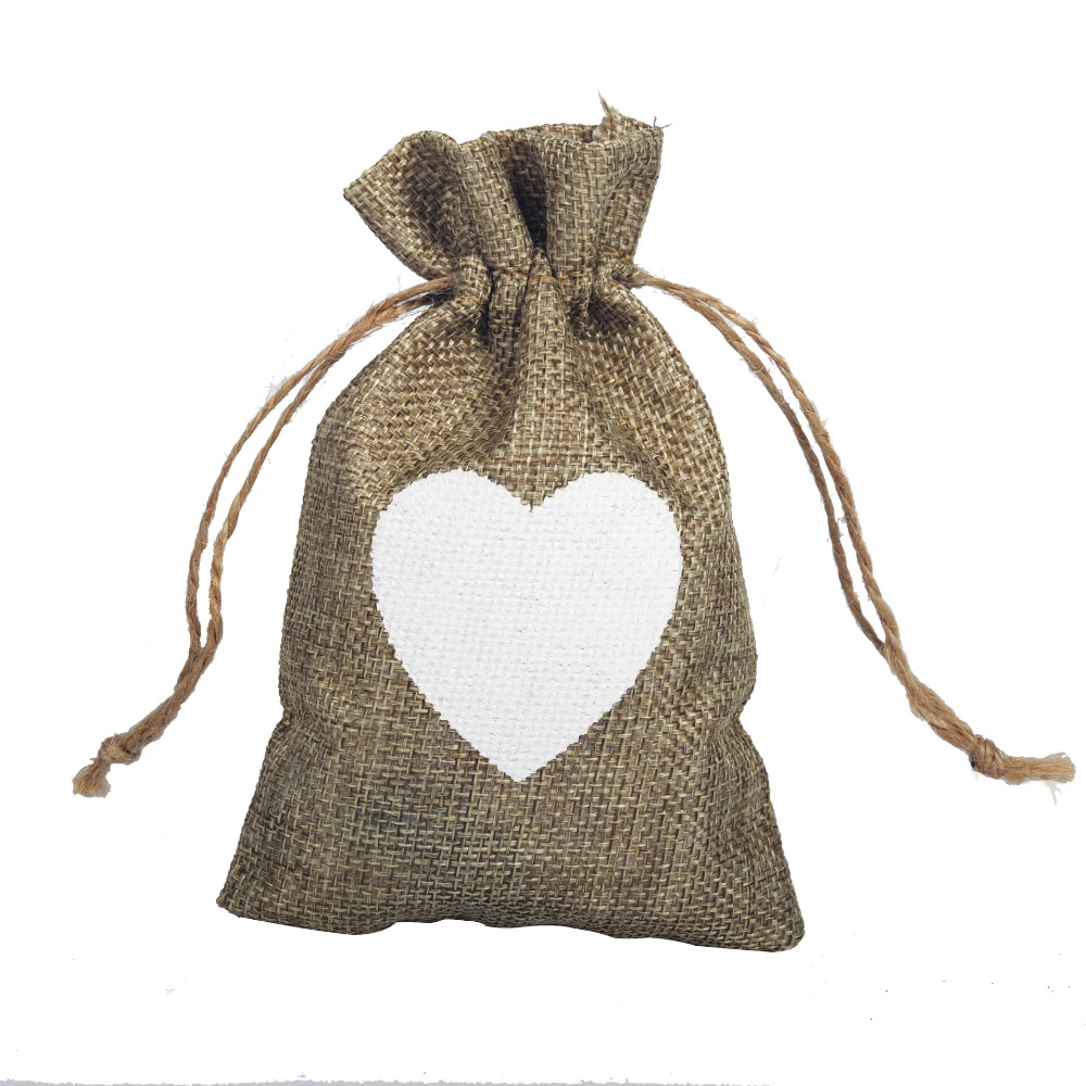 5Pcs 10x15cm Heart Jute Linen Drawstring Bags Wedding Favors And Gifts Candy Bag BB381