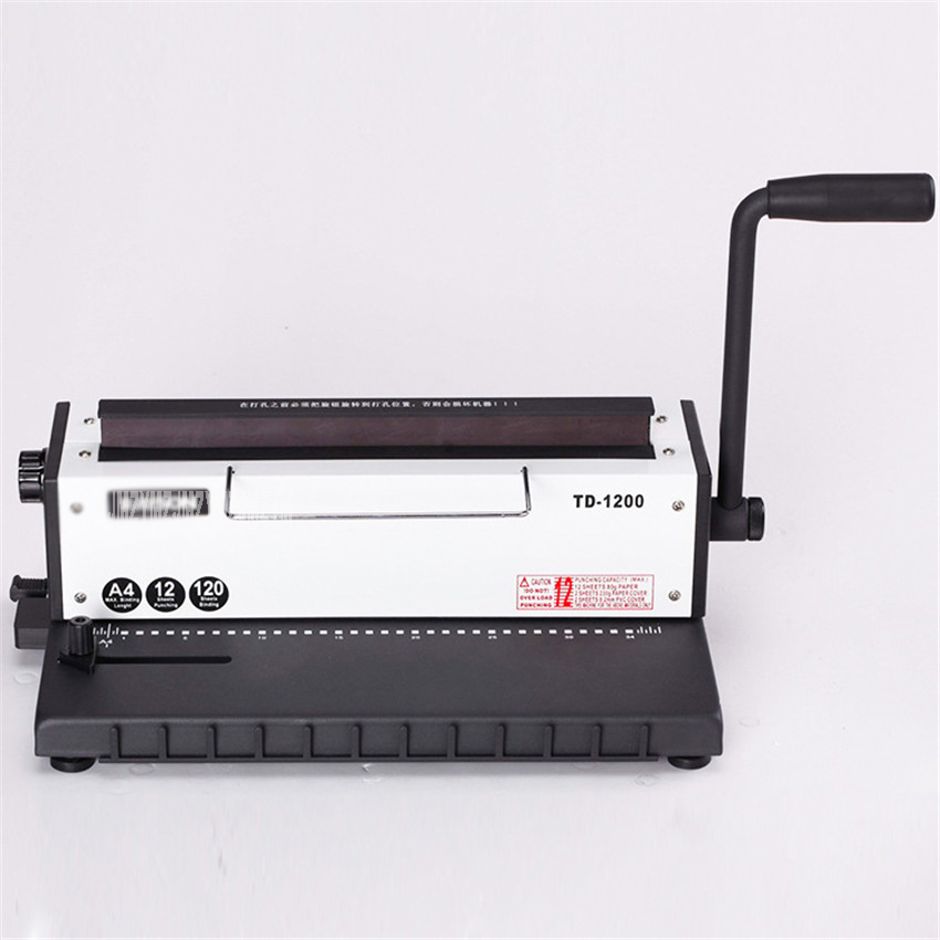 TD-1200 Manual Spiral Wire Binding Machine Metal 34 Punching Hole File Menu Photo Album A4 Paper Document Binder Puncher Machine 12inch photobook making machines package flush mount album maker restaurant menu binding machine combo kits