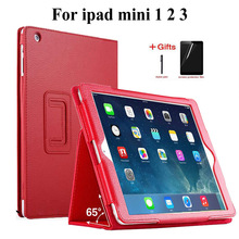 Slim Litchi PU Leather Case For iPad Mini 3 2 1 Smart Stand Flip cover for apple