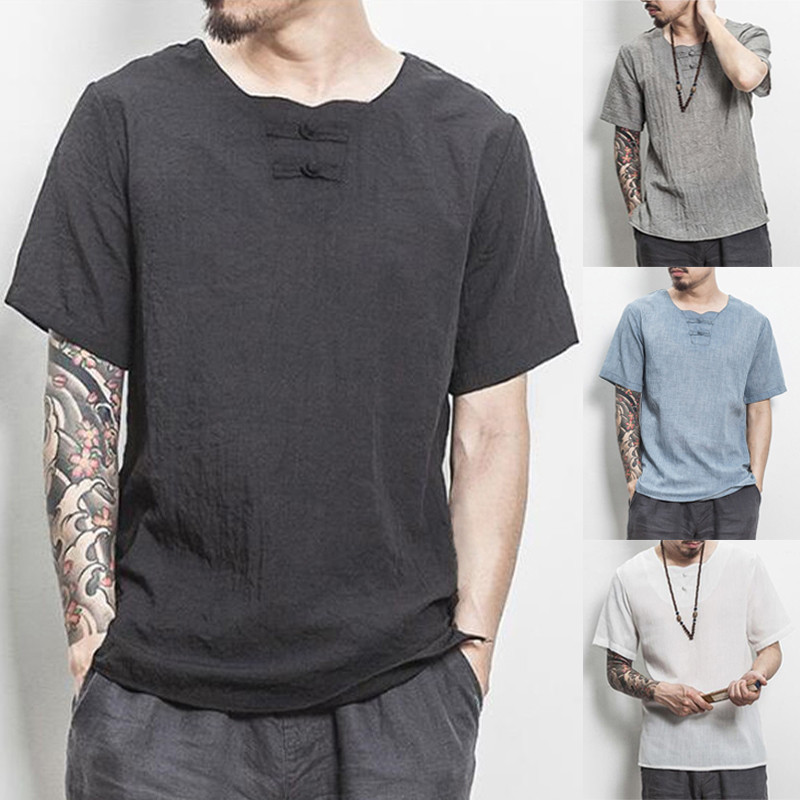 Retro Chinese Style Loose Fit Men T-Shirts Cotton Short Sleeve W Neck Button Chinese Back Print Casual Shirts 5XL Summer Male