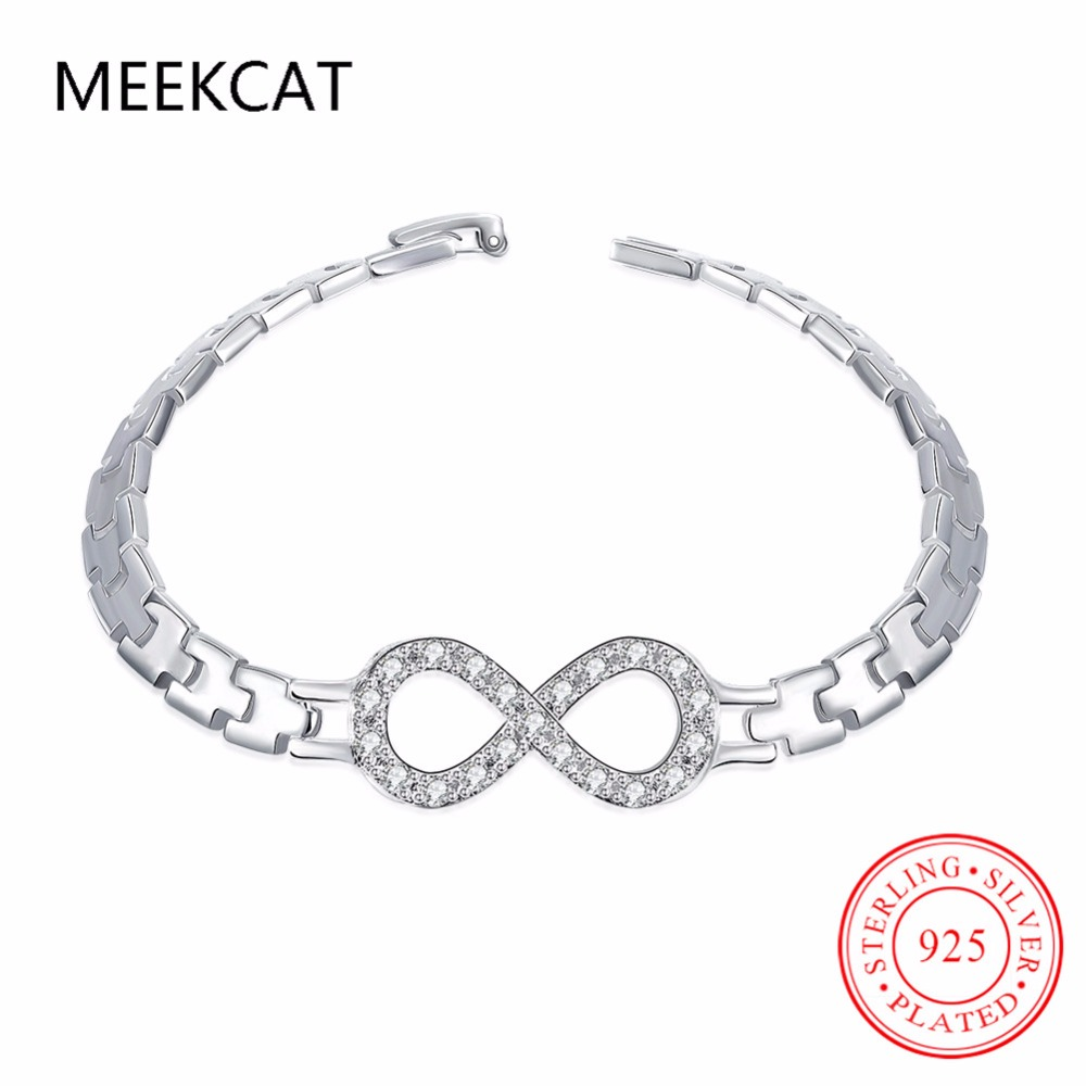 MEEKCAT New Clear CZ Infinity Sign Bangles 925 stamped silver plated Infinite Bangle Bracelet for women Lucky 8 Fashion Jewelry