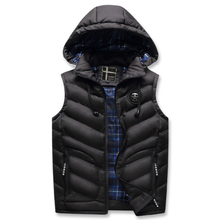 Winter Casual Vest Coats Male Classic Vest Jackets Casual Slim Fit Men's Warm Vest Thicken Detachable Hooded Men Waistcoat
