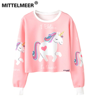 MITTELMEER 2018 Bts Harajuku Sweatshirt Woman Girls Crop Top Cartoon Unicorn Cat Animal Fruit Printing Short