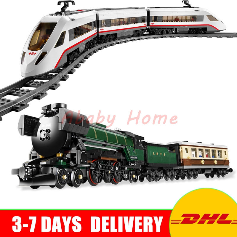 LEPIN 21005 Emerald Night Train + 02010 High-speed Passenger Train Technic Series Model Building Kits Block Bricks 10194 60051 lepin 02010 610pcs city series building blocks rc high speed passenger train education bricks toys for children christmas gifts