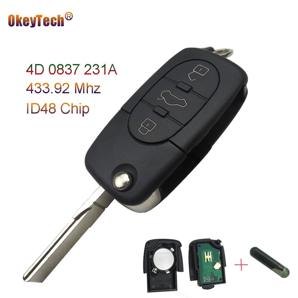 Okeytech Дистанционное управление для Audi A3 A4 A6 A8 3 Пуговицы Flip Fold режиссерский чехол FOB 433 мГц ID48 чип удаленный Ключи 4d0837231a