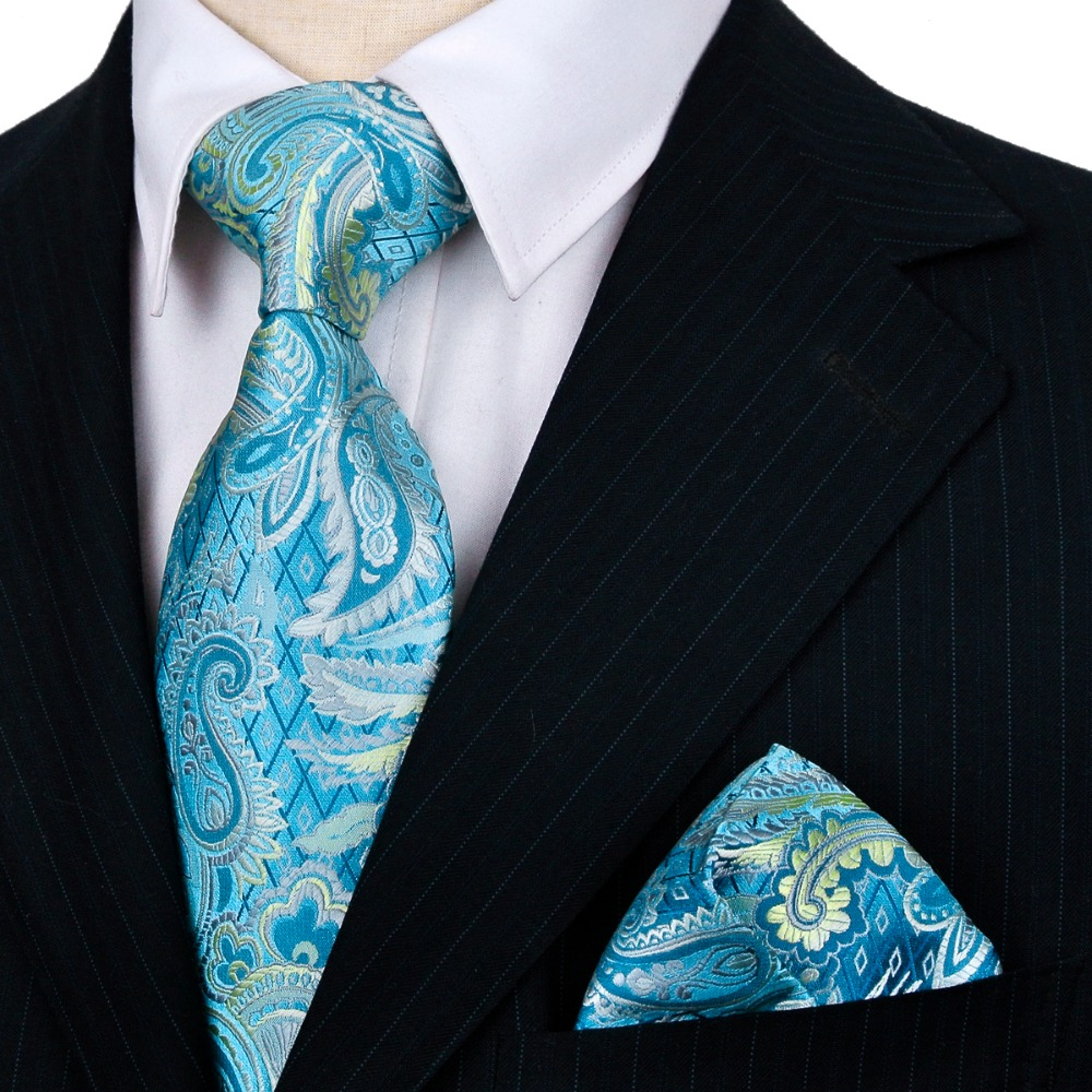 Handmade Tie Sets Paisley Blue Turquoise Purple Pink Red Mens Ties Neckties Hanky 100% Silk Jacquard Woven Brand New Wholesale