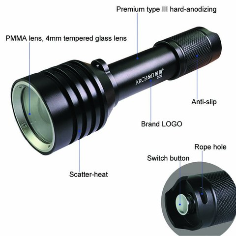 ARCHON D12U Diving Video Light Professional Underwater Light Red Blue UV Fill light Diving Flashlight Waterproof Diver Torch Islamabad