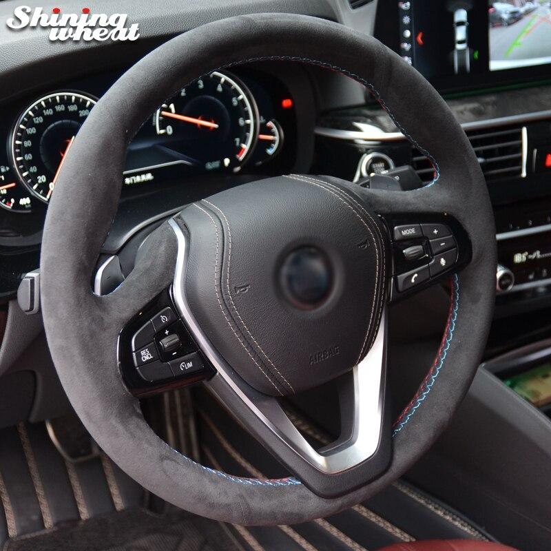 Brillant blé Noir Alcantara volant de voiture couvercle pour bmw G30 530i 540i 520d 530e 2016-2018 G32 GT 630i 630d 2017- 2018