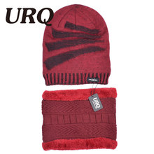 URQ men with Faux Fur warm soft caps in winter Acrylic knitted adult hat Scarf Glove