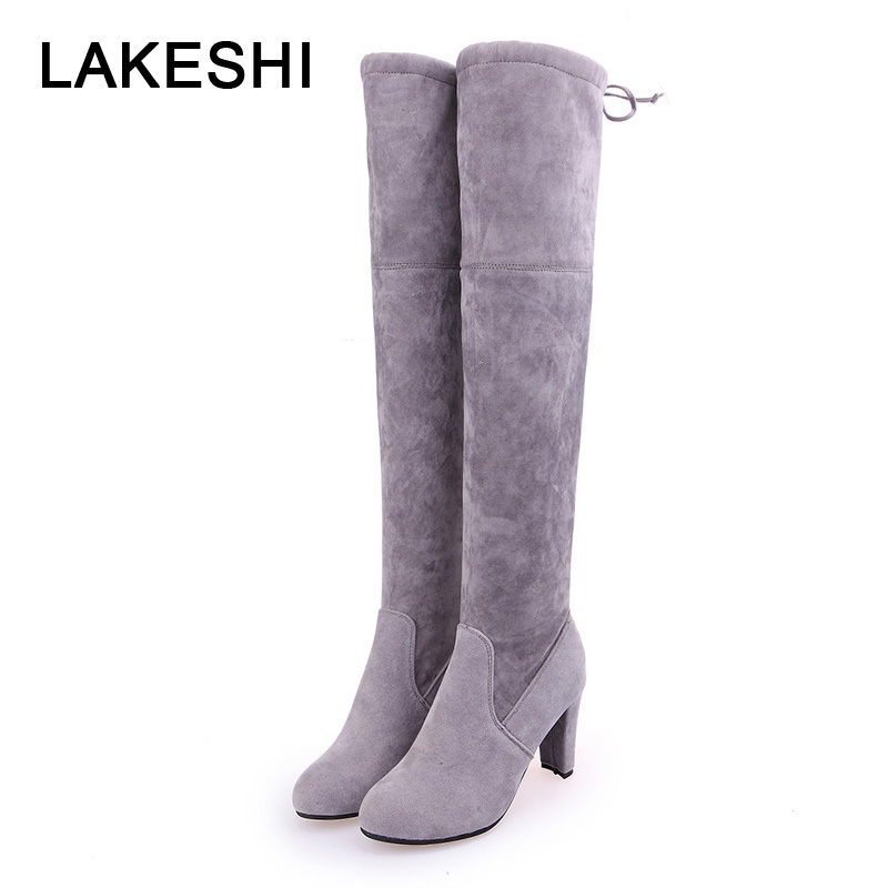 Women High Boots Over The Knee Boots Women Shoes Lace Up Ladies Shoes Plus Size 43 Knee High Boots Sexy High Heels Boots Female ladies plus size 34 46 12 colors lace up designer led board shoes light up luminous zapatillas usb charger high top party boots