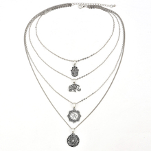 New Fashion womens Multi Layer palm elephant pendant Crescent Necklace Bohemian Jewelry  Pendants Hot Sale