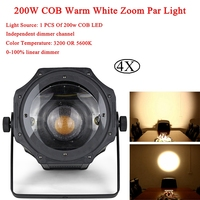 4Pcs/Lot 200W COB Warm White Zoom Par Light 0 100% Linear Dimmer LED Zoom Par Can Gold Color Warm White Warm Spot Lights