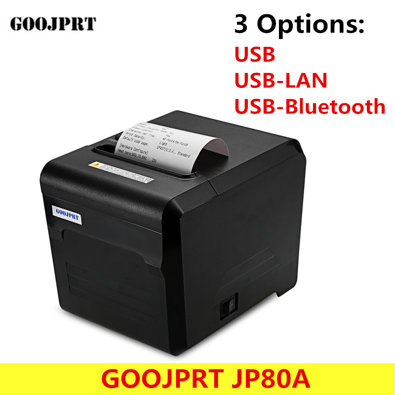 GOOJPRT JP80A USB/ USB-LAN/ USB-Bluetooth Thermal Printer with USB Serial Port 80mm Receipt Machine for Android iOS mini 80mm rechargeable bluetooth thermal receipt printer smartphone android and ios bill printer machine usb serial port hs 85ai