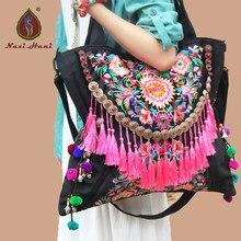 Mais novo Bohemia artesanal borla das mulheres sacos de lona bordado lagre Étnicas sacos de ombro viajar sacos do mensageiro