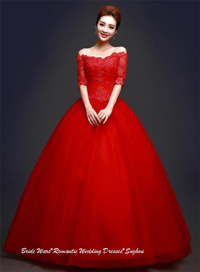 2015 New Graceful Floor Length Scoop Cap Sleeve Appliques Red Ball