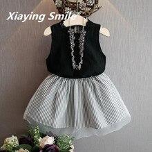 Girls Clothing Sets Sleeveless Shirt Kid Skirt Children Clothes Striped Voile Skirt Summer Fashion Cotton Girls Sets