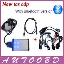 100% Calidad A + + 2014.02 R2 Nueva vci TCS CDP con Bluetooth ESCÁNER cdp pro plus con LED OBDII/EOBD 3in1 + Juego Completo 8 Coche Cable