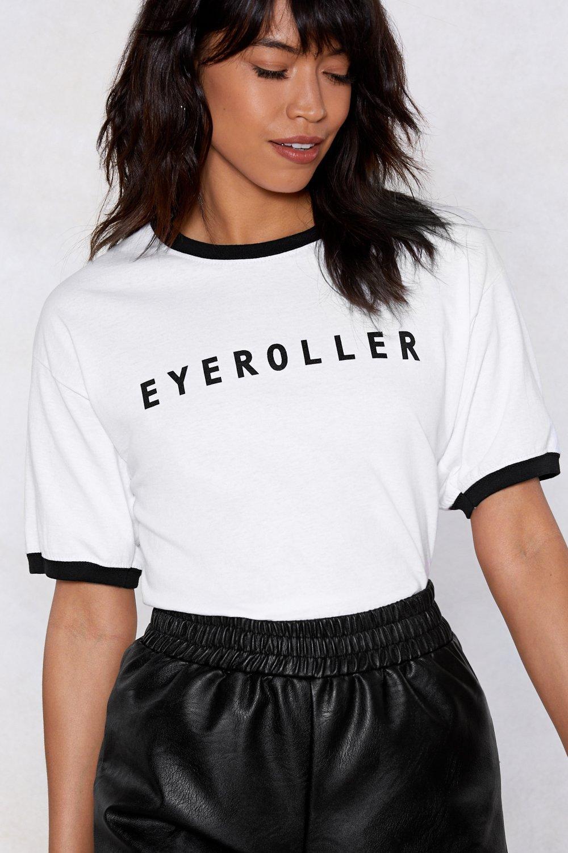 Eye Roller T Shirt Funny Slogan Women Black Ringer New Fashion Tees