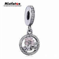 Mistletoe Authentic 925 Sterling Silver Flower Charm Dangle Fit European Bracelet Jewelry