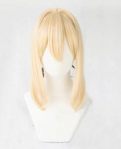 Image 4 - Violet Evergarden Ponytail Braid Buns Blonde Hair Heat Resistant Cosplay Costume Wig + Wig Cap + Ribbon