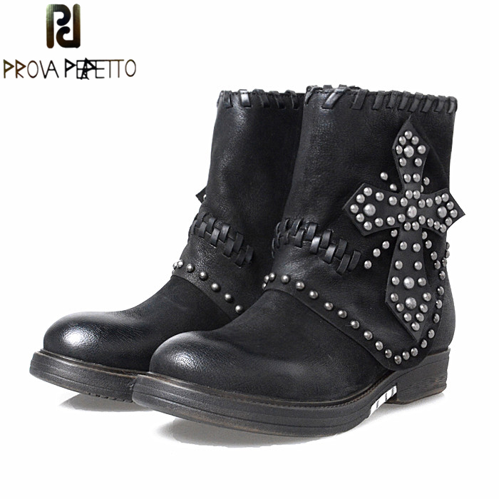 Prova Perfetto Retro Women Ankle Boots Rivets Studded Genuine Leather Flat Boots Autumn Winter Female Thick Bottom Botas prova perfetto autumn winter new genuine leather low heel women mid calf boots round toe thick bottom comfortable martin boots
