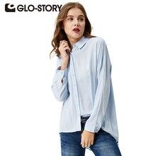 GLO-STORY Для женщин Повседневное Кнопка Блузка осень 2017 г. рубашка с длинными рукавами Твердые свободные классические Топы корректирующие blusas WCS-3674