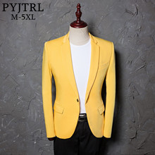 PYJTRL Mens Classic Plus Size 5XL Yellow Suit Jacket Fashion Casual Blazer Designs Costume Homme Stage Clothes For Singers