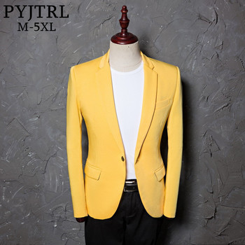 PYJTRL Mens Classic Plus Size 5XL Yellow Suit Jacket Fashion Casual Blazer Designs Costume Homme Stage Clothes For Singers Men Blazers