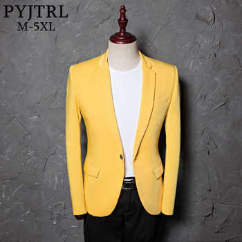 PYJTRL Mens Classic Plus Size 5XL Yellow Suit Jacket Fashion Casual Blazer Designs Costume Homme Stage Clothes For Singers - DISCOUNT ITEM  51% OFF All Category