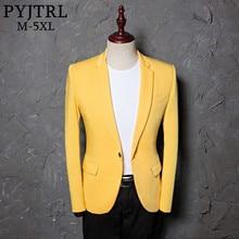 Pyjtrl Mens Classic Plus Size 5XL Geel Jasje Mode Toevallige Blazer Ontwerpen Kostuum Homme Stadium Kleren Voor Zangers