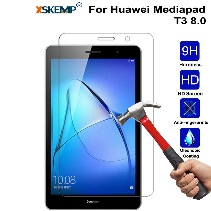 XSKEMP Tablet Tempered Glass For Huawei Mediapad T3 8.0 Screen Protector Tablet Film 9H Transparent Ultra-thin Protective Guard protective pet screen guard flim for kindle transparent