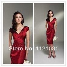 2014 New Red Elegant Sheath V Neck Cap Sleeve Taffeta Mother of the Bride Dresses Custom-made AW-03
