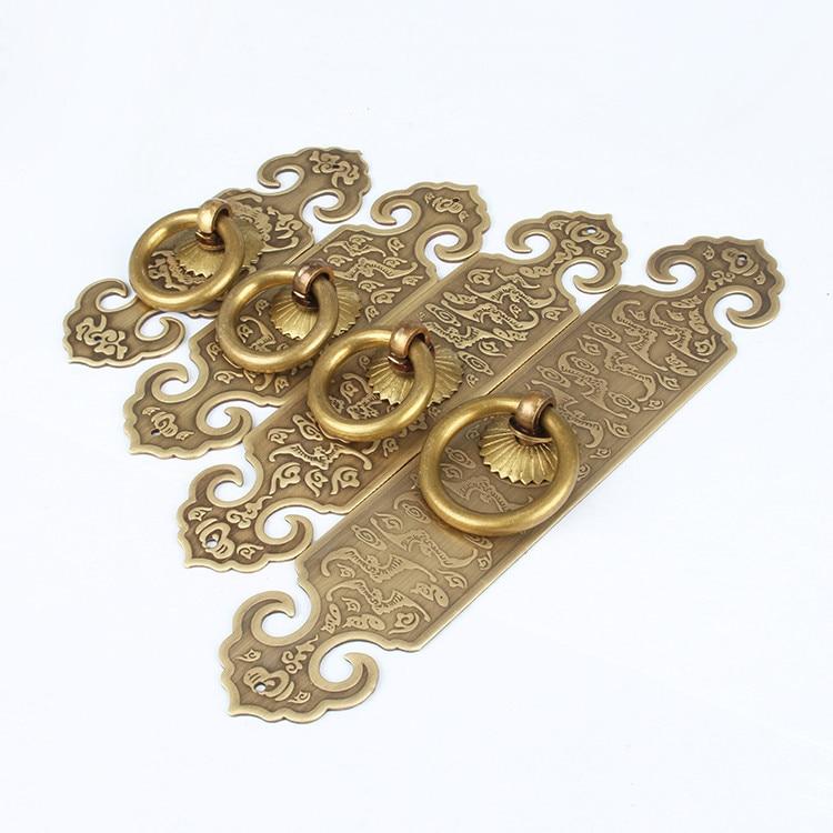 Decorative Furniture Fittings Chinese Furniture Brass Hardware Cabinet Door Strip Pull Handle Knob 2PCS